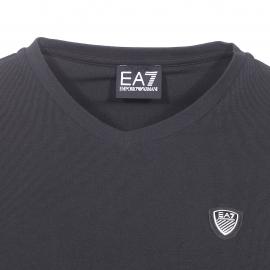 Tee-shirt col V EA7 en coton stretch noir