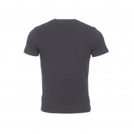 Tee-shirt col rond EA7 en coton noir floqué du logo en blanc