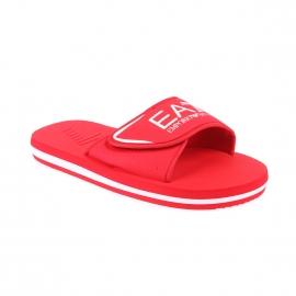 Sandales EA7 rouges floquées en blanc