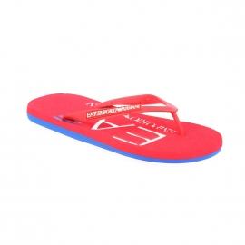 Tongs EA7 rouges et bleues logotypées