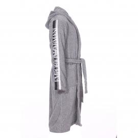 Peignoir de bain Emporio Armani gris chiné à capuche brodé sur les manches