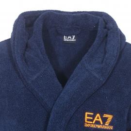 Peignoir à capuche EA7 en coton peigné bleu marine brodé du logo