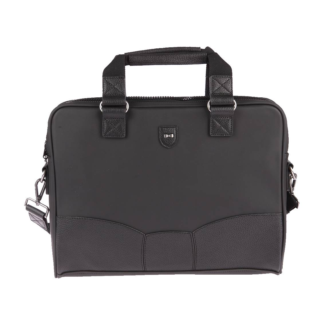 Porte-documents/ ordinateur  en toile et cuir noir
