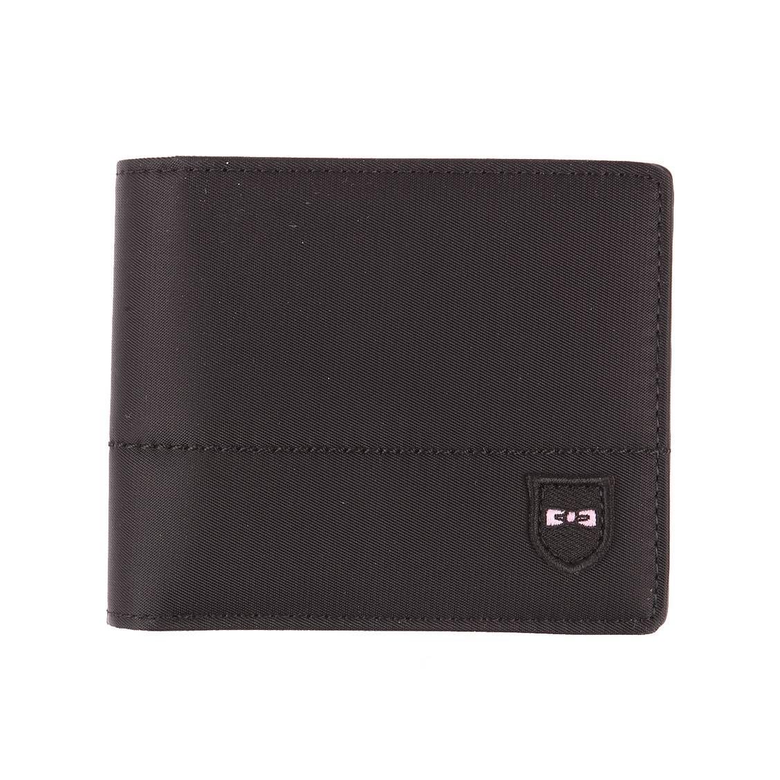 Portefeuille italien 2 volets  noir bi-matière à porte-monnaie