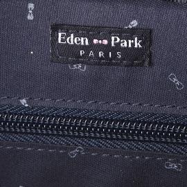 Trousse de toilette ovale Eden Park en toile et cuir noir