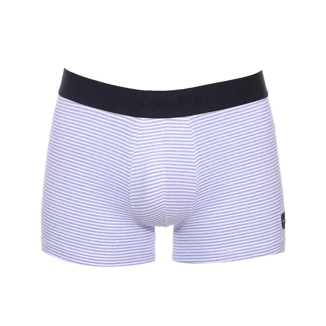 Boxer long  en coton stretch blanc à fines rayures bleu clair