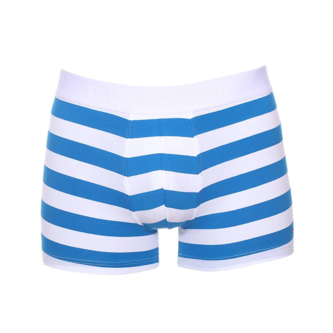 Boxer long  en coton stretch blanc à larges rayures bleu azur