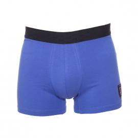 Boxer long Eden Park en coton stretch bleu azur brodé d'un blason