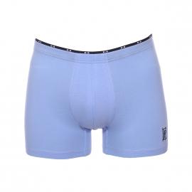 Boxer long Eden Park en coton stretch bleu lavande, ceinture à petits noeuds