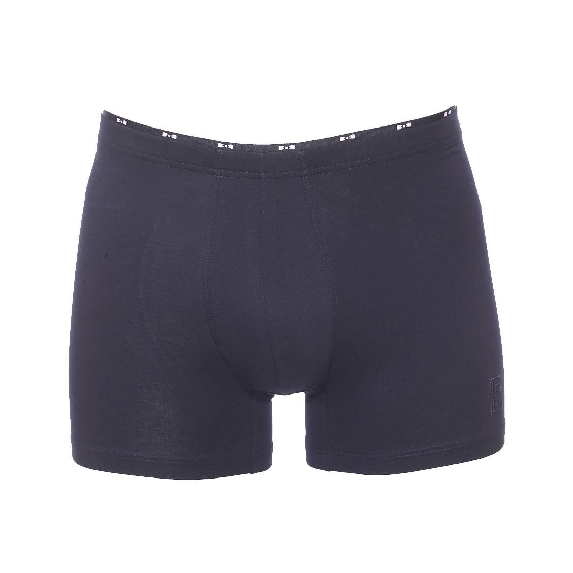 Boxer long  en coton stretch bleu marine, ceinture à petits noeuds