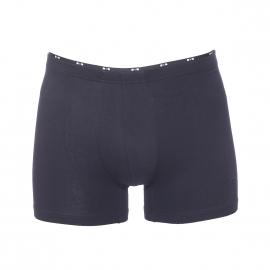 Boxer long Eden Park en coton stretch bleu marine, ceinture à petits noeuds