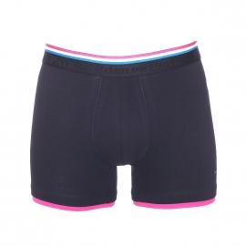 Boxer long Eden Park en coton stretch bleu marine à bordures colorées