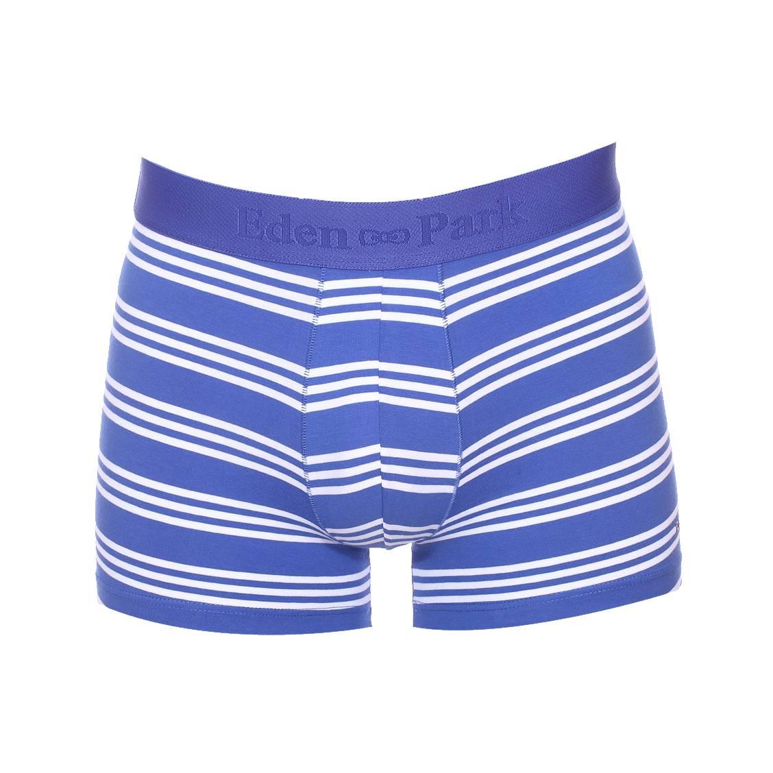Boxer long  en coton stretch bleu roi à rayures blanches
