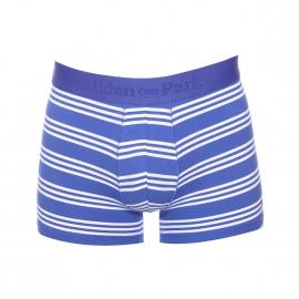 Boxer long Eden Park en coton stretch bleu roi à rayures blanches