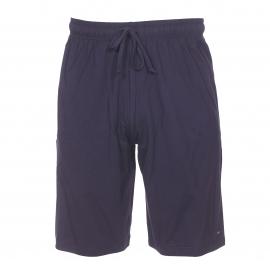 Pyjama court Eden Park en coton : tee-shirt bleu marine à rayures bleu indigo et short uni bleu marine