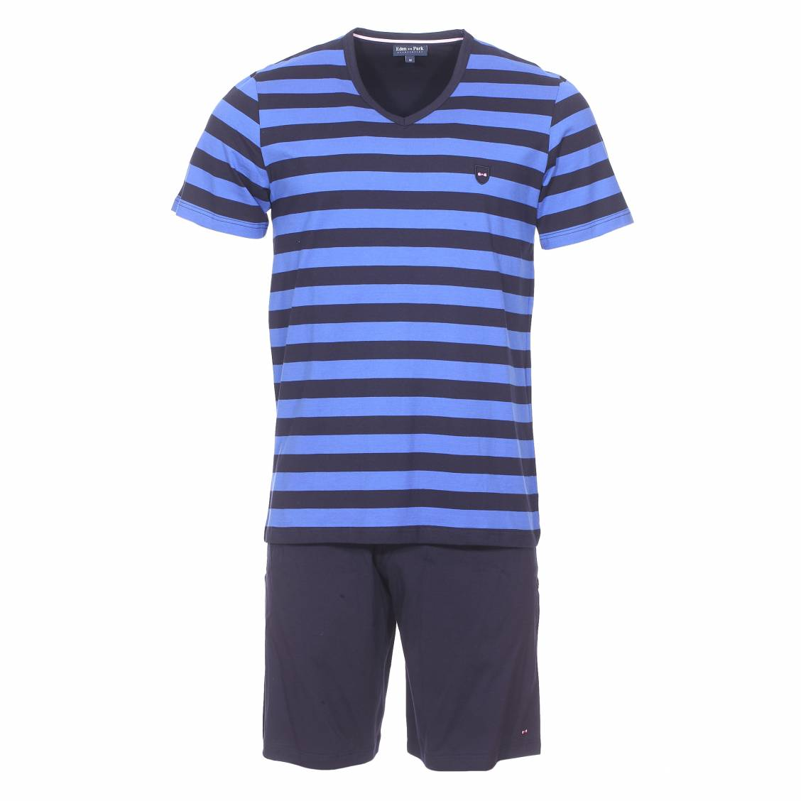 Pyjama court  en coton : tee-shirt bleu marine à rayures bleu indigo et short uni bleu marine