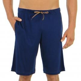 Pyjama court Eminence en jersey de coton mercerisé  : tee-shirt manches courtes col tunisien bleu marine à rayures crème, bermuda bleu marine