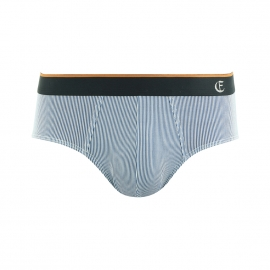 Slip taille basse Eminence en jersey micromodal à rayures blanches et bleues