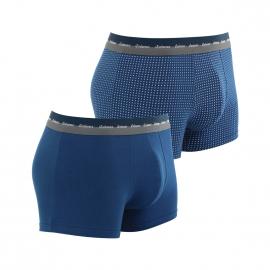 Lot de 2 boxers Eminence en jersey de coton stretch bleu de prusse et bleu de prusse à motifs carrés blancs