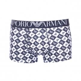 Boxer Emporio Armani en coton stretch à damier bleu marine et blanc monogrammé