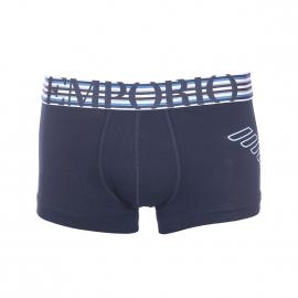 Boxer Emporio Armani en coton stretch bleu marine à ceinture rayée