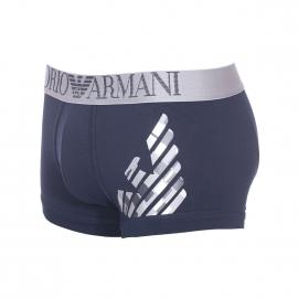 Boxer Emporio Armani en coton stretch bleu marine, logo Eagle gris