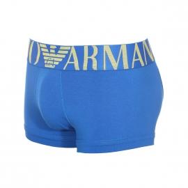 Boxer Emporio Armani en coton stretch bleu roi à large ceinture brodée en jaune