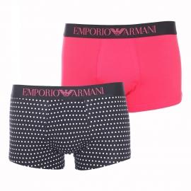 Lot de 2 boxers Emporio Armani en coton stretch rose fuchsia et noir à pois blancs