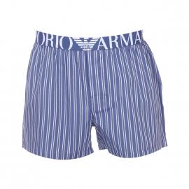 Caleçon Emporio Armani 100% coton bleu indigo à rayures blanches