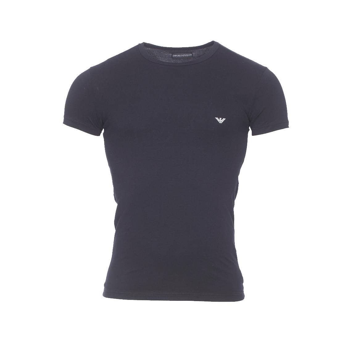 Tee-shirt col rond  en coton stretch noir floqué au dos