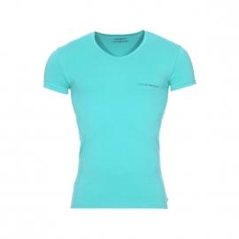 Lot de 2 tee-shirts col V en coton stretch vert d'eau et blanc