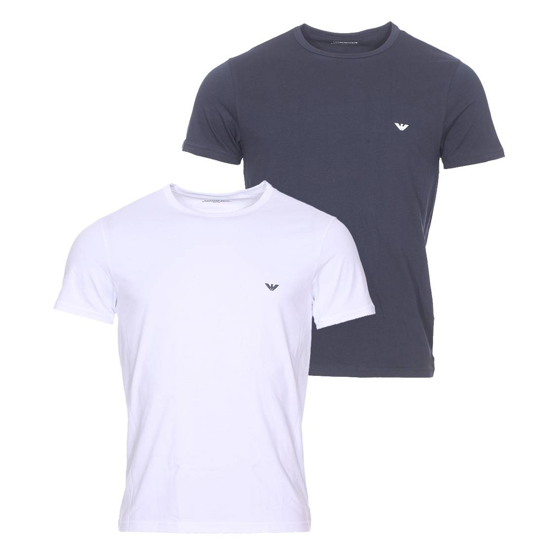 Lot de 2 tee-shirts col rond  en coton stretch : 1 modèle blanc et 1 modèle bleu marine