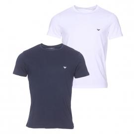 Lot de 2 tee-shirts col rond 100% coton bleu marine et blanc