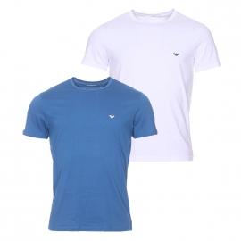 Lot de 2 tee-shirts col rond Emporio Armani 100% coton blanc et bleu pétrole