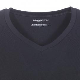Tee-shirt col V Emporio Armani en coton noir floqué en bas d'un logo camouflage