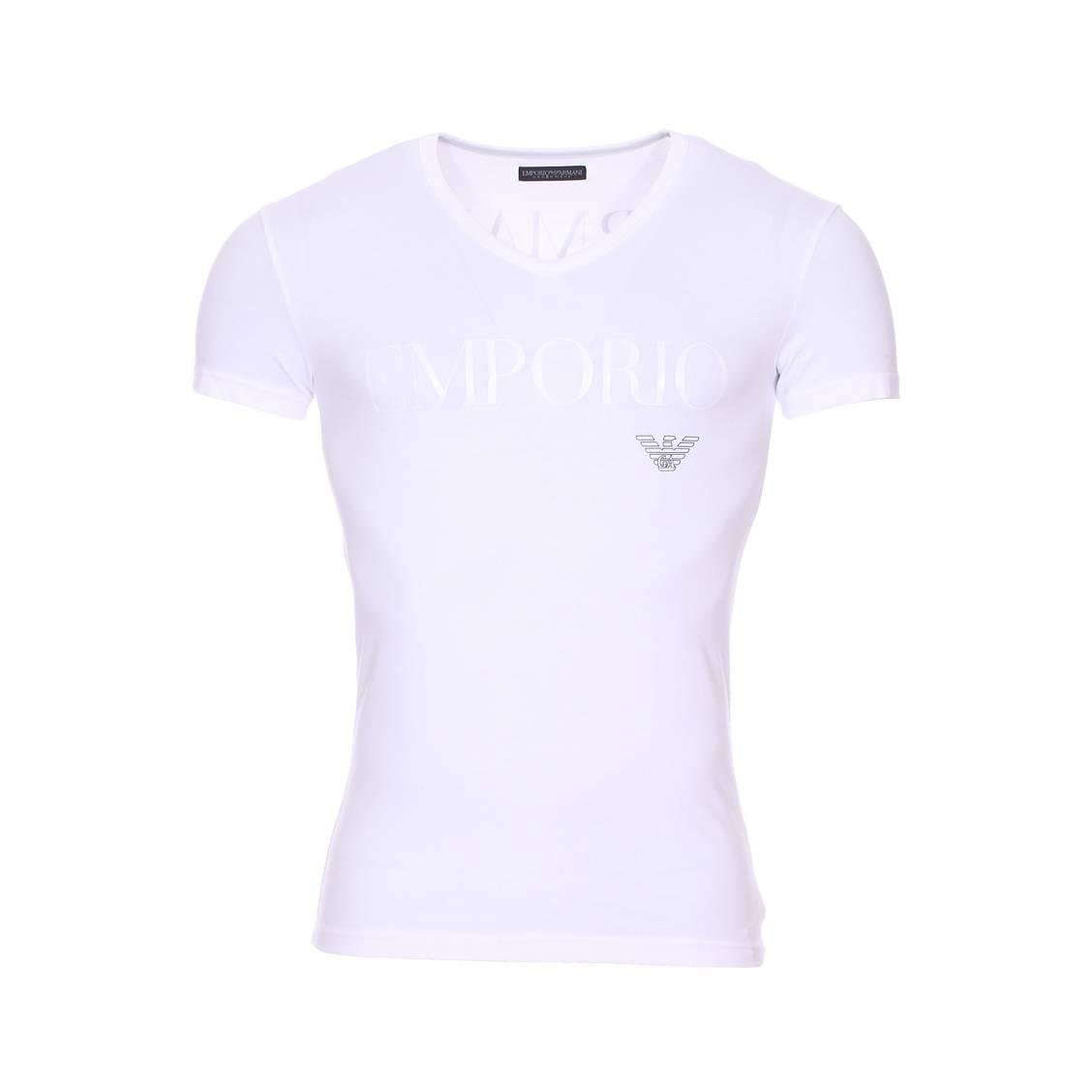 Tee-shirt col v  en coton stretch blanc floqué