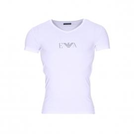 Tee-shirt col V Emporio Armani en coton stretch blanc floqué sur la poitrine