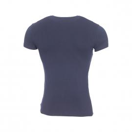 Tee-shirt col V Emporio Armani en coton stretch bleu marine à liserés blanc et bleu indigo