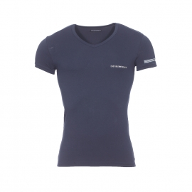 Tee-shirt col V Emporio Armani en coton stretch bleu marine floqué sur la manche