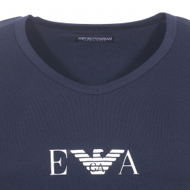 Tee-shirt col V Emporio Armani en coton stretch bleu marine floqué sur la poitrine
