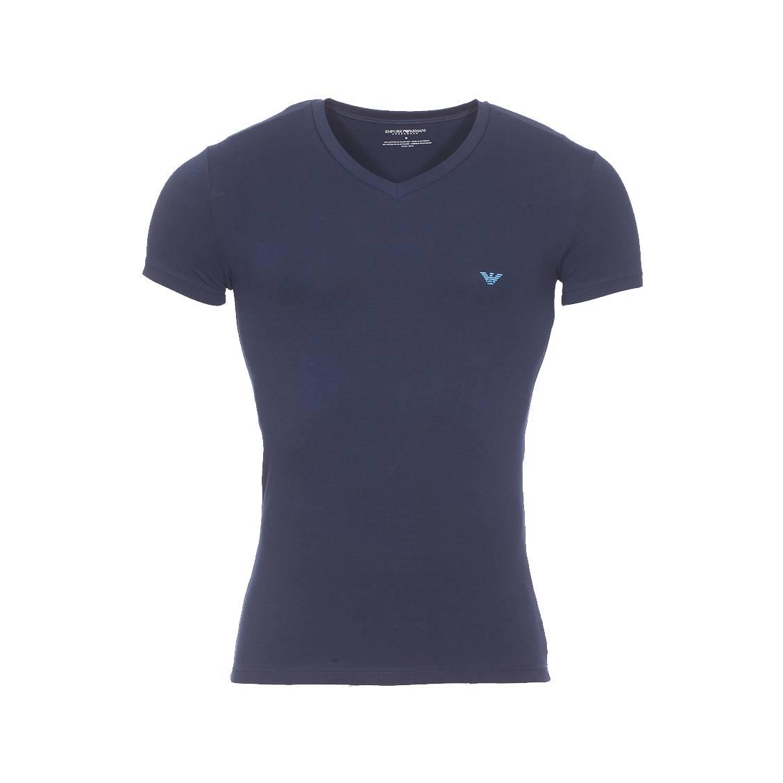 Tee-shirt col v  en coton stretch bleu marine floqué sur l\'arrière de l\'épaule