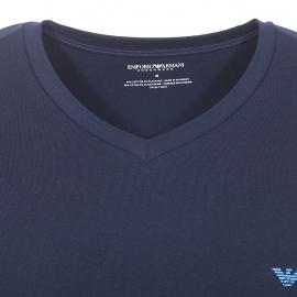 Tee-shirt col V Emporio Armani en coton stretch bleu marine floqué sur l'arrière de l'épaule