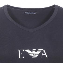 Tee-shirt col V Emporio Armani en coton stretch noir floqué sur la poitrine