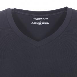 Tee-shirt col V Emporio Armani en coton stretch noir floqué sur l'arrière de l'épaule