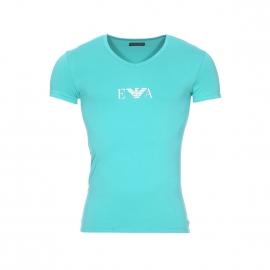 Tee-shirt col V Emporio Armani en coton stretch vert d'eau floqué sur la poitrine