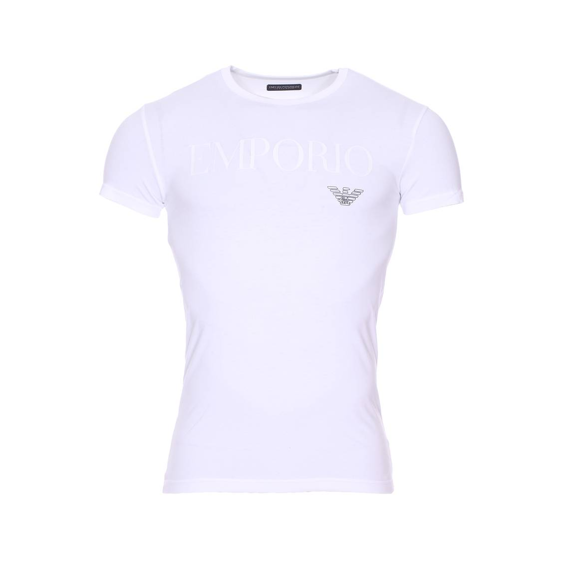 Tee-shirt col rond  en coton stretch blanc floqué