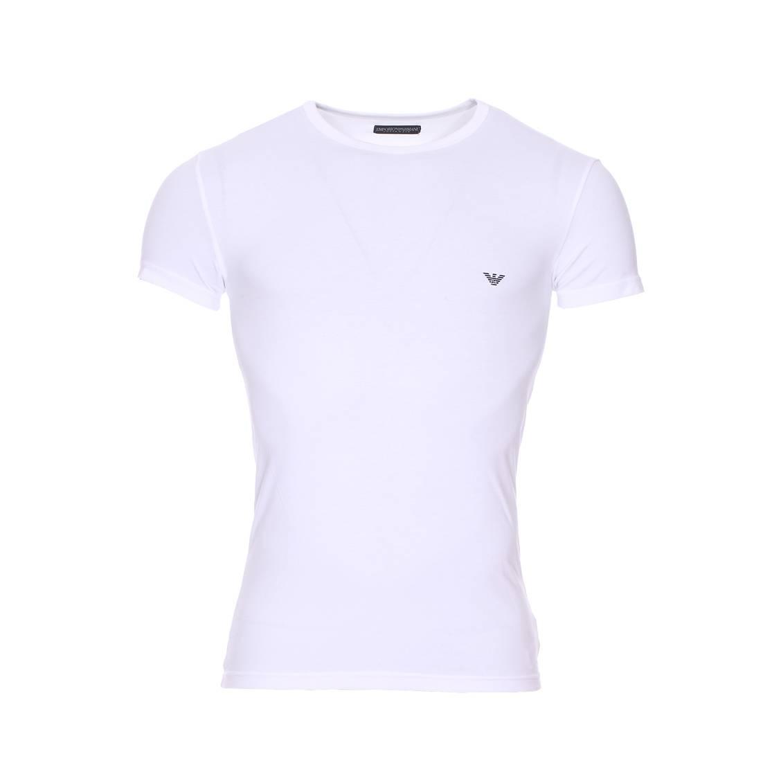 Tee-shirt col rond  en coton stretch blanc floqué au dos