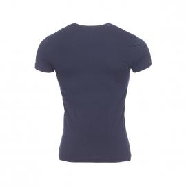 Tee-shirt col rond Emporio Armani en coton stretch bleu marine floqué sur la poitrine