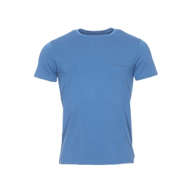 Tee-shirt col rond Emporio Armani en coton stretch bleu pétrole