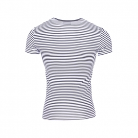 Tee-shirt col rond Emporio Armani en polyamide stretch à rayures blanches et bleu marine et logo jaune